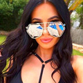JUSTRUE Sunglasses Super Amantes Da Moda de Grandes Dimensões Flat Top Moldura de Espelho de Metal Shades óculos de Sol Dos Homens Das Mulheres de Rua Moda Feminina