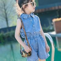 2019 Clothes For Girls 2pcs Girls Clothing Set Denim Shirts + Shorts Jeans Kids Summer Costume Ensemble Fille 10 12 13 14 Year