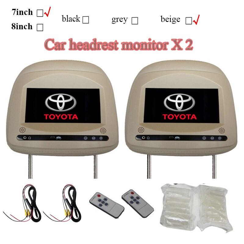 2 teile/los kopfstütze auto monitore für toyota camry rav4 highlander prado mit touch-taste 800x480 auflösung schwarz grau beige 4:3