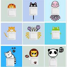 1set Lovely Animal Stickers On Wall Light Switch Pegatinas Cat Sticker For Kids Rooms DIY Home Decoration Mural Art Wall Decals cute deer with quotes wall sticker for kids children bedroom decoration vinyl art design poster mural beauty wall decals ly1841