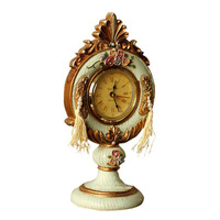 European Retro Table Clock Embossed Rose Pointer Clock Creative Resin Crafts Ornaments Household Living Room Tabletop Decoration