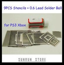 2013 הלוהטים 9 PCS BGA סטנסיל PS3 Xbox Reballing שבלונות ערכת עם 1 בקבוק 25 K הלחמת כדור 0.6mm