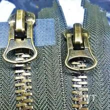 ¡2 unids/lote HEAVY DUTY cremalleras para coser vintage bronce cremallera Metal 2 vías doble extremo deslizante negro/verde militar para accesorios de costura para ropa guardar!