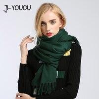 Sciarpe delle donne di alto modo 2017 solido verde viola scialli e avvolge sciarpa poncho mantelle hijab delle donne del cotone caldo di lana sciarpa