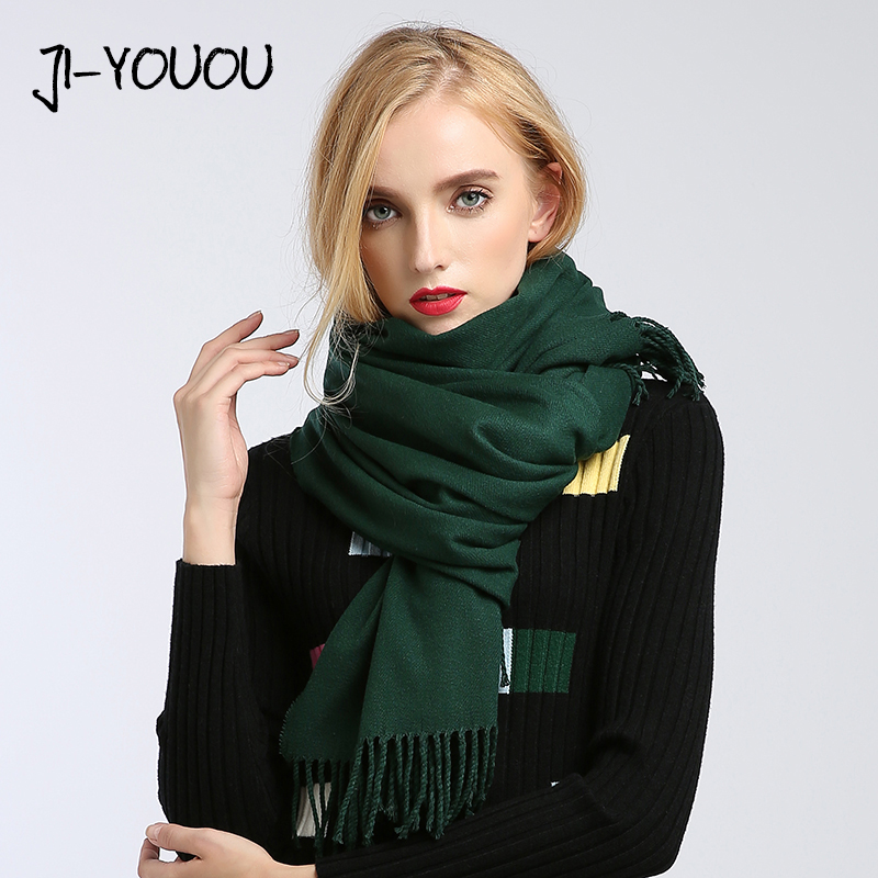 Scarves Women High Fashion 2018 Solid Green Purple Shawls And Wraps Scarf Ponchos Capes Hijab Warm Cotton Women's Wool Scarf