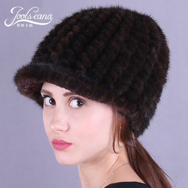 9792aaaba1b79 Joolscana winter beanie fur hat women cap winter hats for women russian fur  cap autnmn caps natural mink knitted with brim hat