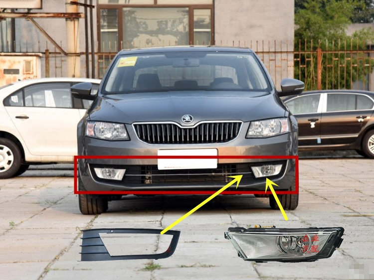 eOsuns fog lights lamp with bulbs, 2Pcs Grilles with chrome, Cable Harness, headlight switch complete set for skoda octavia a7