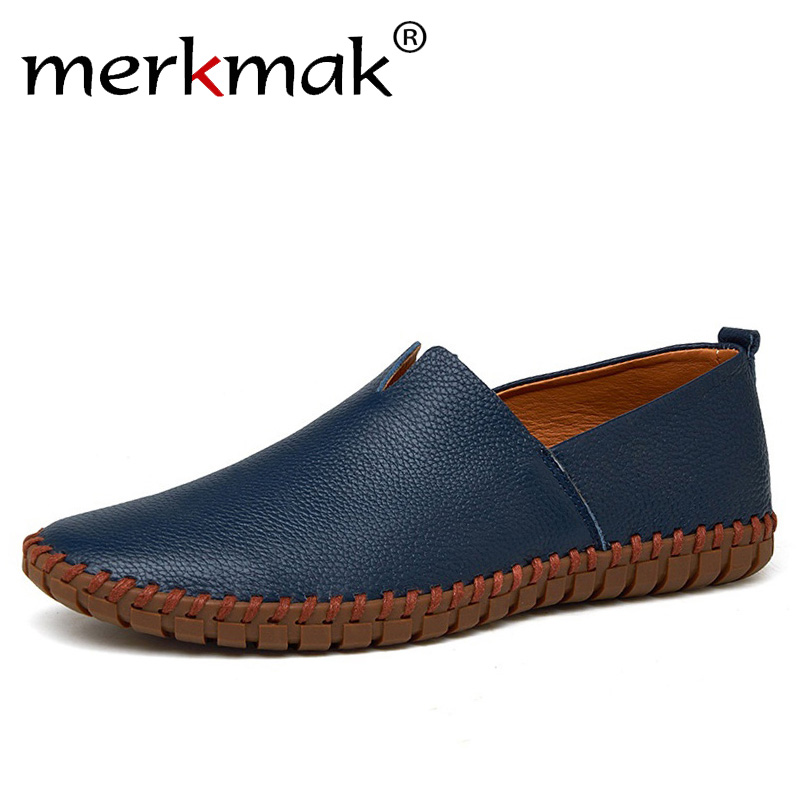 Genuine Cow Leather Men Loafers 2018 Fashion Handmade Moccasins Leather Men Flats Blue Slip On Men's Boat Shoe Plus Size 38~47