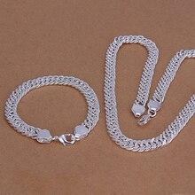 2015new 925 sterling argent 10mm large beaux hommes collier de bracelet pour les femmes fine mode jewerly en gros