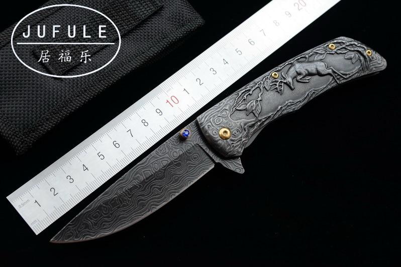 JUFULE conception Originale Damas motif pliant camp chasse de Survie de poche outils EDC Tactique en plein air flipper 3504 couteau de cuisine
