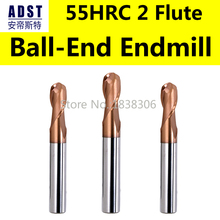 цены на Endmill endmill Ball end carbide tungsten Milling cutter Cutting tools 55HRC 2 flute 4 8 bits engraving bits cnc machining tools в интернет-магазинах