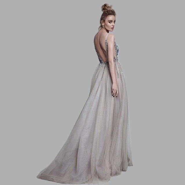 Sexy Deep V-Neck Side Split Long Evening Dress 2019 New Arrivals Backless Sparkly High Slit See Through Abendkleider Lang 2