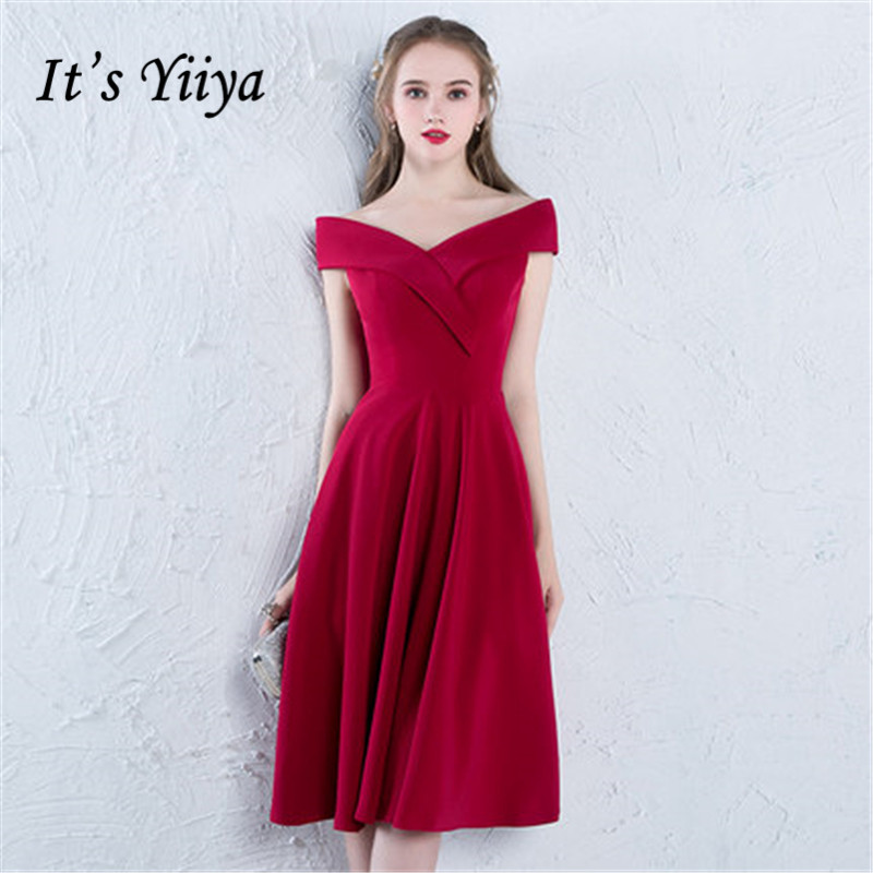 It's YiiYa   Cocktail     Dress   Sexy Boat Neck Vintage Wine Red Knee-length A-line Party Gowns LX376 In Stock
