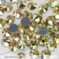 Verre de soleil flatback strass hotfix cristaux pierres strass paillettes accessoires pour 3d art vêtement appliques robes chaussures