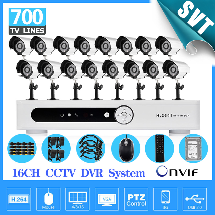 Home 16CH CCTV Security Camera 16 channel DVR 700TVL Outdoor Day Night IR Camera DIY Kit Color Video Surveillance System SK-207  16ch video camera recorder dvr with 16pcs outdoor waterproof ir day night vision surveillance camera 16ch security sytem dvr kit