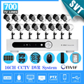 Início 16CH CCTV câmera de segurança 16 canal DVR 700TVL Outdoor Day Night IR Camera DIY Kit Color Video Surveillance System SK-207