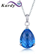 Fine Jewelry Women's Solid 14K White Gold Diamond Blue Pear Topaz Gemstone Engagement Wedding Promise Pendant Sets