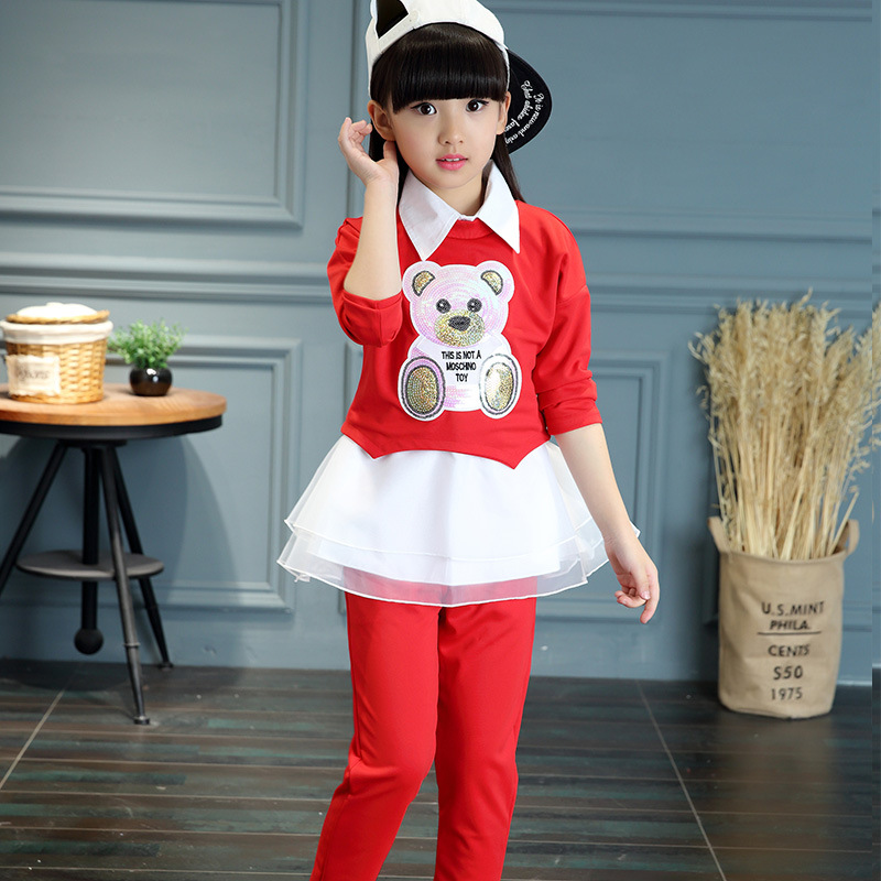 Children's clothing 2018 Spring Autumn new casual three-piece suit cotton long-sleeved clothes + pants + sleeveless shirt free shipping children clothing spring girl three dimensional embroidery 100% cotton suit long sleeve t shirt pants