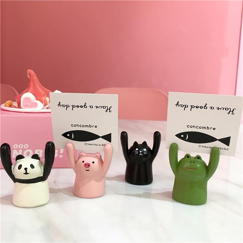 Cute Piggy Frog Panda Black Cat Ceramic Card Holder Namecard Display Clip Holder Photo Holder Office School Home Desk Decoration