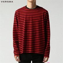 VERSMA Autumn Korean Harajuku GD Black White Striped T shirts Men Women Fashion Loose Oversize Extra