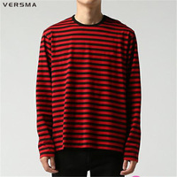 VERSMA Autumn Korean Harajuku GD Black White Striped T Shirts Men Women Fashion Loose Oversize Extra