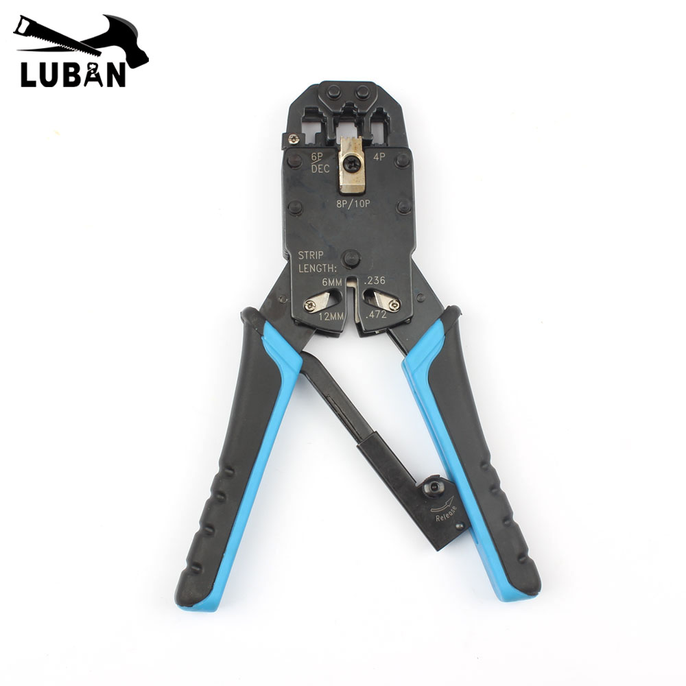 Multifunctional TL-200R ethernet cable modular crimping pliers strippers RJ45 10p10c 8P8C 6P4C 8 more in one modular tools 24 pcs rj45 modular network pcb jack 56 8p w led 4 ports