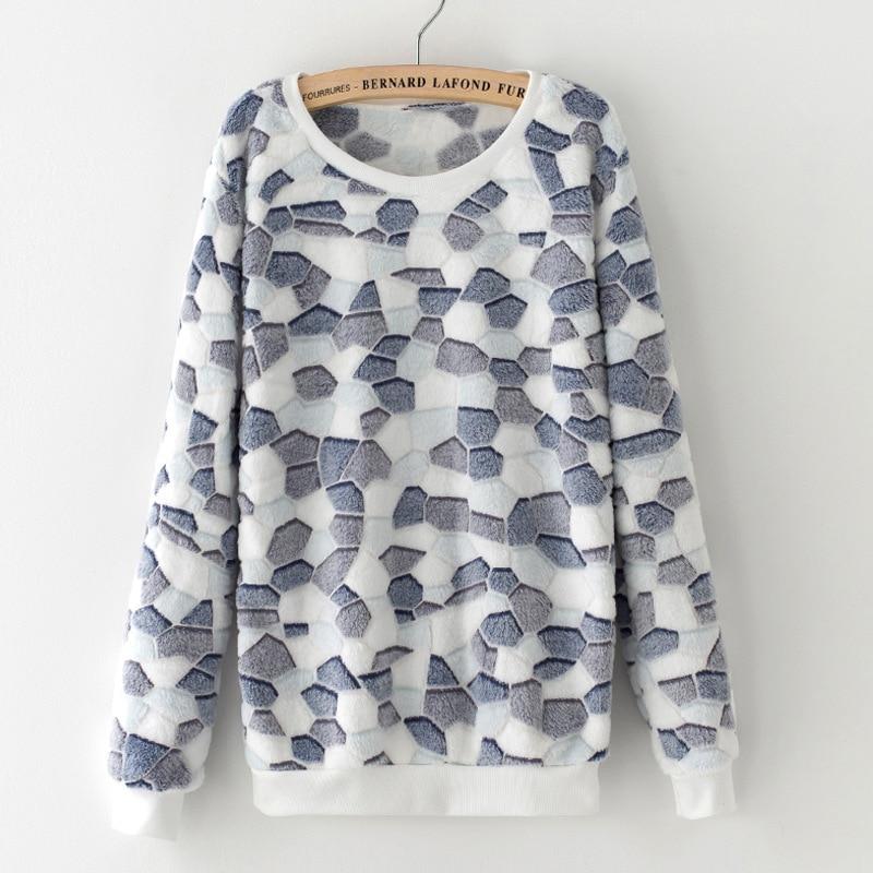 Spring Women Sweatshirt Printing Animal Stars Cartoon Fleece Polka Dot Velvet Pullovers Hoodies Long Sleeve Knitted Tops MZ2083