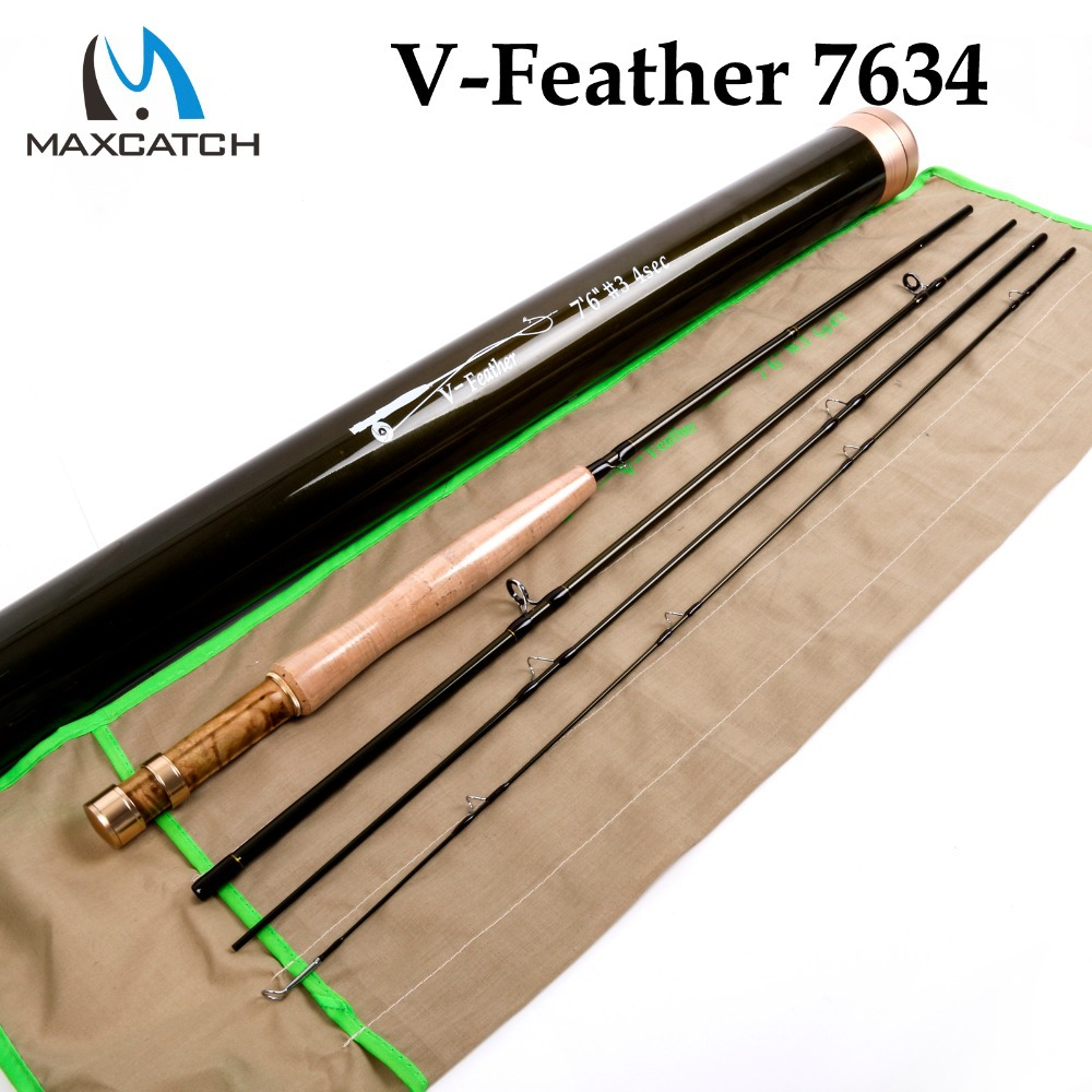 Maximumcatch V-Feather 7634 Fly Fishing Rod SK Carbon Fiber Very Light Fly Rod Fast Action With a Carbon Fiber Rod Tube серьги silver wings 220041 32 197