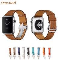 CRESTED Genuine Leather Strap For Apple Watch Band 42mm 38 Bracelet Metal Buckle Band Belt For