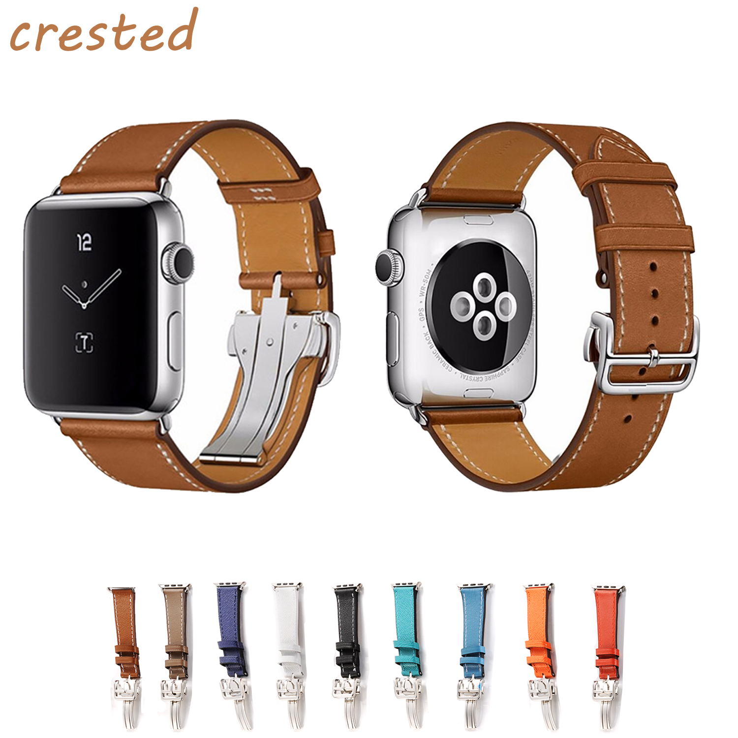 купить CRESTED leather strap for apple watch band 42mm/38mm iwatch 3/2/1 wrist band bracelet metal buckle band belt  Replaceable strap по цене 1054.97 рублей