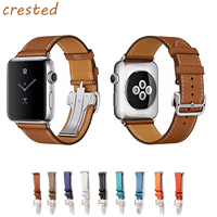 CRESTED Genuine Leather Strap For Apple Watch Band 42mm 38 Bracelet Metal Buckle Band Belt For