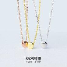 1 unid Real. 925 Sterling Silver 5.5 MM Suerte Frijol Ronda Colgante, Collar de Cadena de Oro Rosa de color Oro Amarillo color Blanco color X482