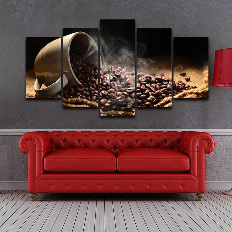 Canvas Painting Kitchen Wall Art 5 Pieces Fragrant Coffee