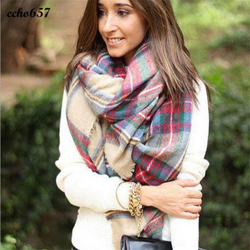 New Fashion Hot Sale Scarves Echo657 New Style Women Scarf Wrap Shawl Plaid Cozy Checked Lady