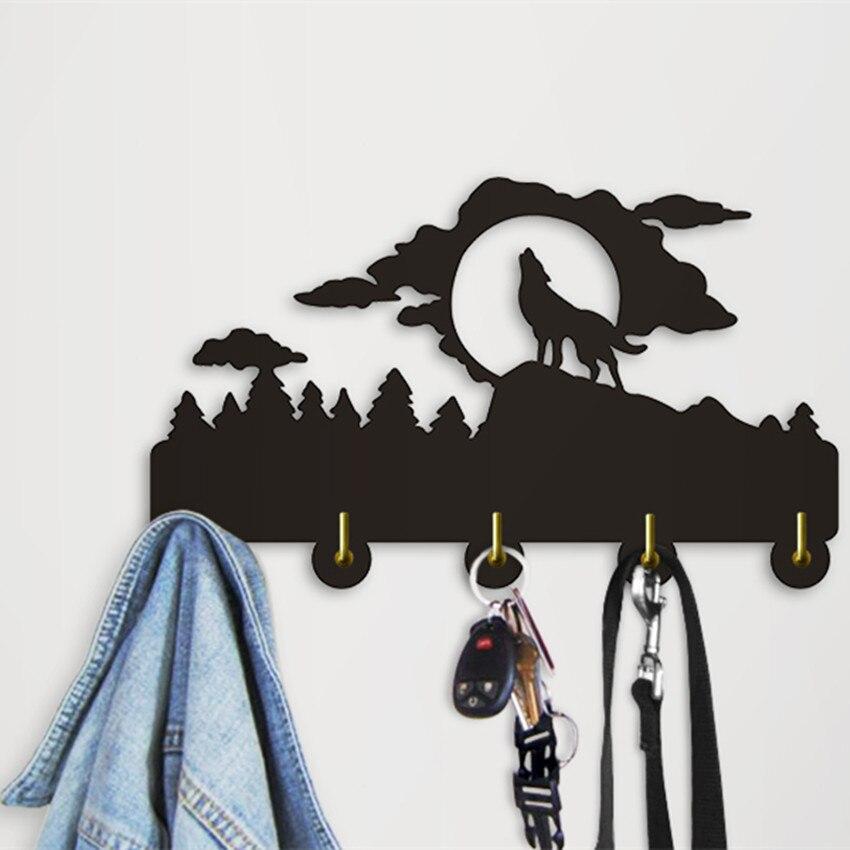 Kopen Goedkoop 1 Stuk Huilende Wolf Silhouet Muur Haak Jas Hanger