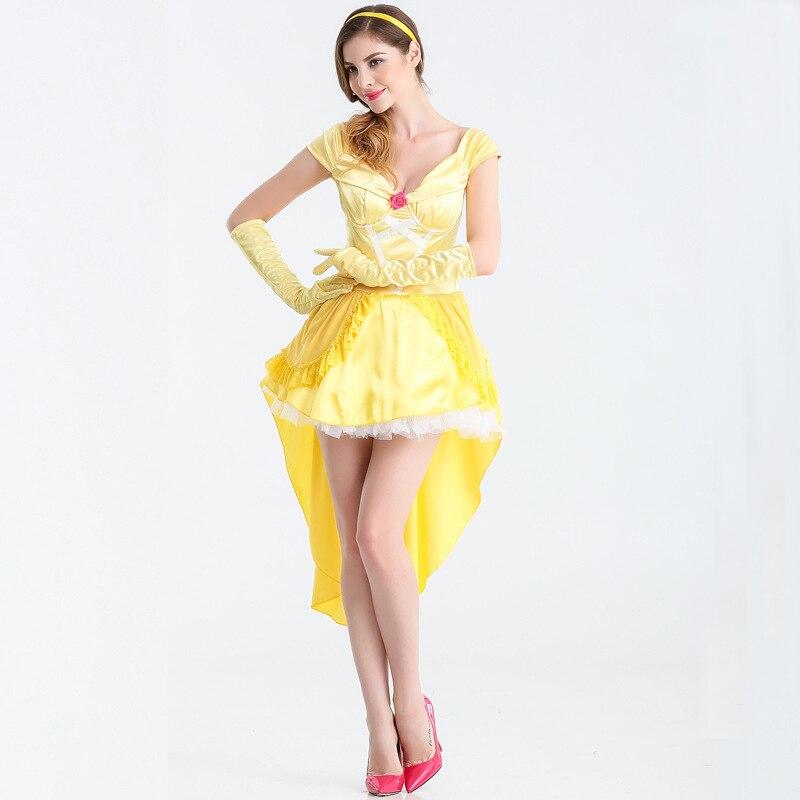 Fairy Tale Princess Snow White Belle Cosplay Costume Adult Women Halloween Party Yellow Dress ( Dress + Gloves + Headwear )