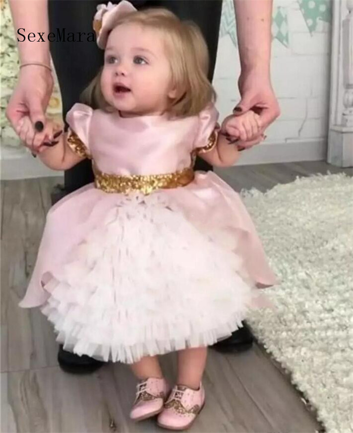 Cute Pink Bow Flower Girls Dresses Toddler Baby Clothes First Communication Dresses With Gold Sequins Tiered Party Birthday Gown