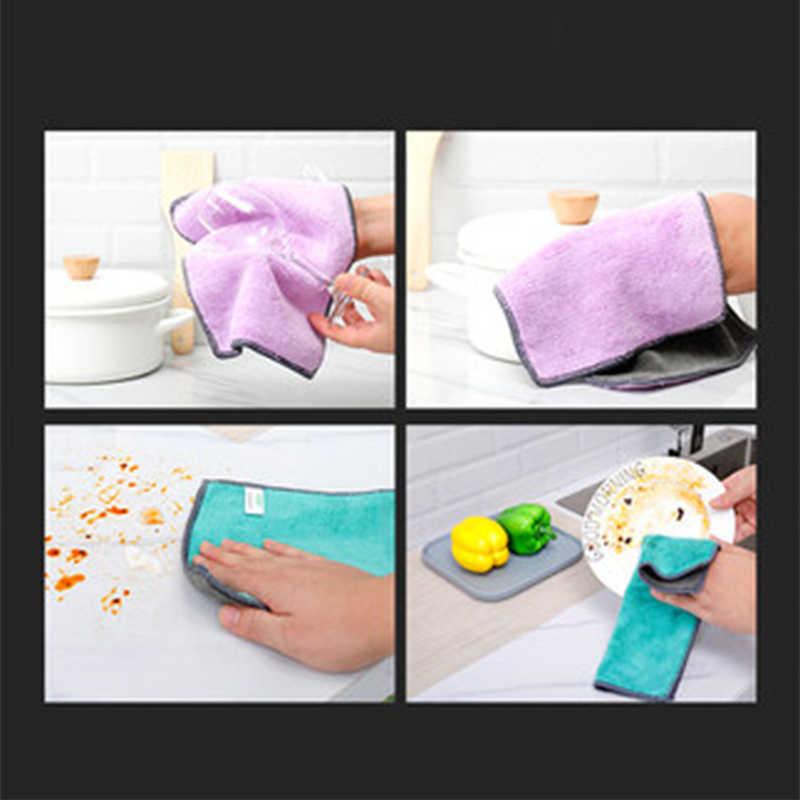 5 pcs Double-Sided Rag ผ้าขนหนูน้ำมัน Rag ดูดซับน้ำผ้าสำลีหนาสองด้านไมโครไฟเบอร์ผ้าทำความสะอาดห้องครัวเครื่องมือ