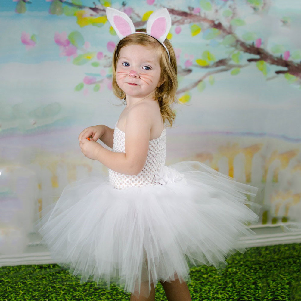 da29988b0d773 Girls cute bunny Tutu Dress White Rabbit Princess dress up Kids Spring Girl  Easter Party Dress