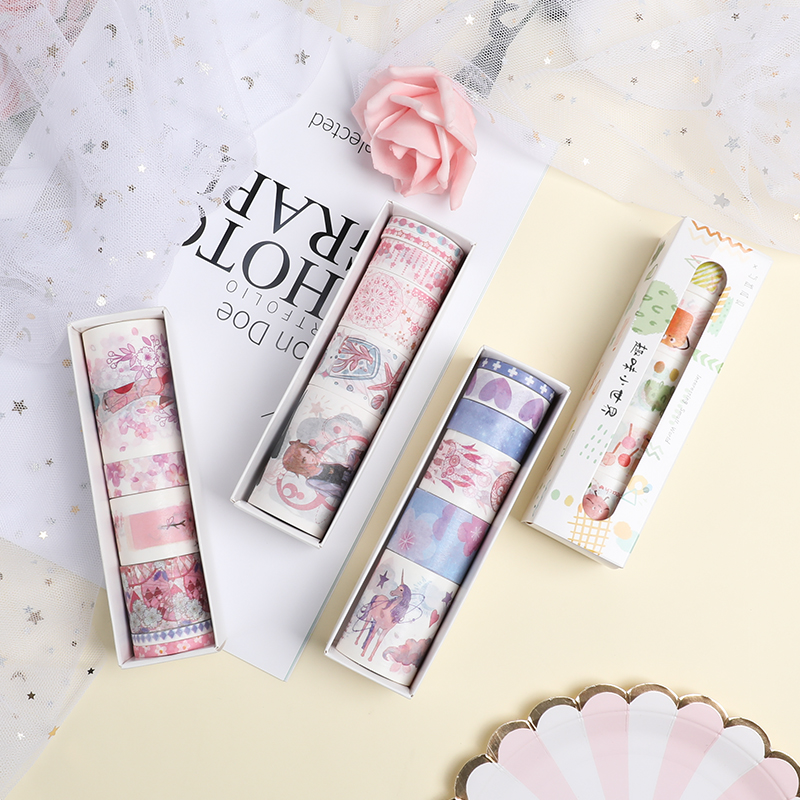6 Rolls/Lot Kawaii Washi Tape Creative Cute Masking Tape Materials For DIY Scrapbooking Planner Book Diary Journal