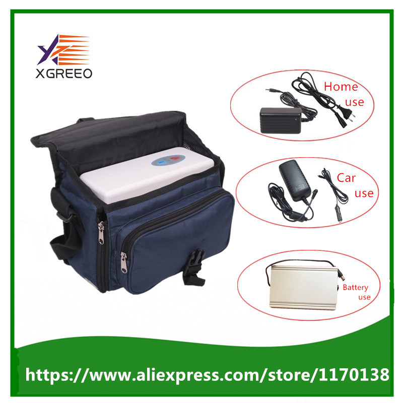 3 Batteries XGREEO XTY-BC Car Use Portable Oxygen Concentrator Generator Device Home Car Travel Trip Use with Battery And Bag coxto home car travel 1l 5l 90% adjust medical oxygen concentrator generator portable with battery car adpator carry bag trolley