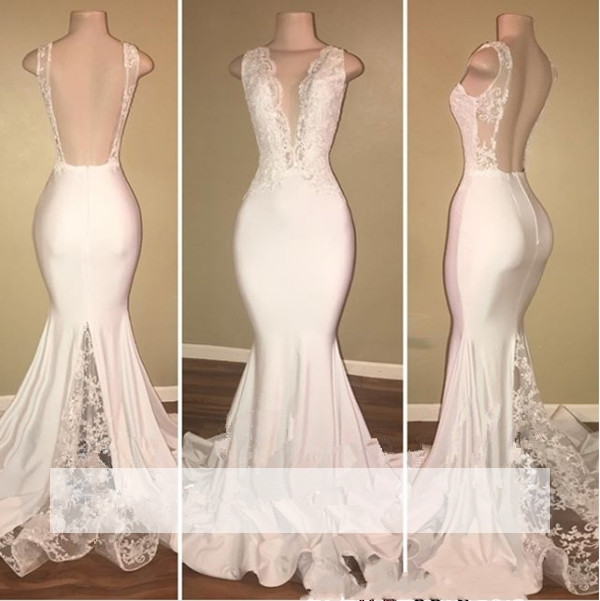 White 2019   Prom     Dresses   Mermaid Deep V-neck Appliques Lace Backless Party Maxys Long   Prom   Gown Evening   Dresses   Robe De Soiree