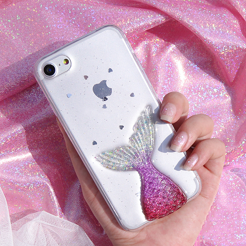 Pretty Mermaid Tail 3D Case for iPhone 7 7plus Shiny Glitter Fairy Tale Case for iPhone  ...