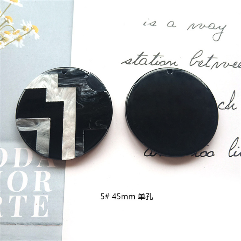 Round Square Fashion Unique 2pcslot Bright Acrylic Imitate Marble Texture Coin-shape Charms for EarringJewelry DIY ET52 (2)