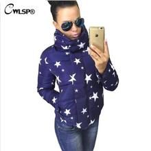 CWLSP Warm Winter Star Sunglass Printed Bomber Jacket and Coat Womens Fashion High Neck Cotton Parka Autumn Casual  Padded