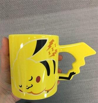 Gran moda bolsillo monstruo dibujos animados Pokemon Pikachu viaje café tazas cerámica limón té taza Linda taza adultos niños regalos