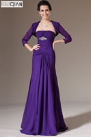 New Mother of the Bride Dress Strapless A line 2 Pieces Purple Chiffon Formal Evening Gowns with Bolero