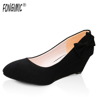 FONGIMIC Women Spring Wedges Pumps Fashion Casual Bow Tie Style Shoes Career Women Office Classic Simple