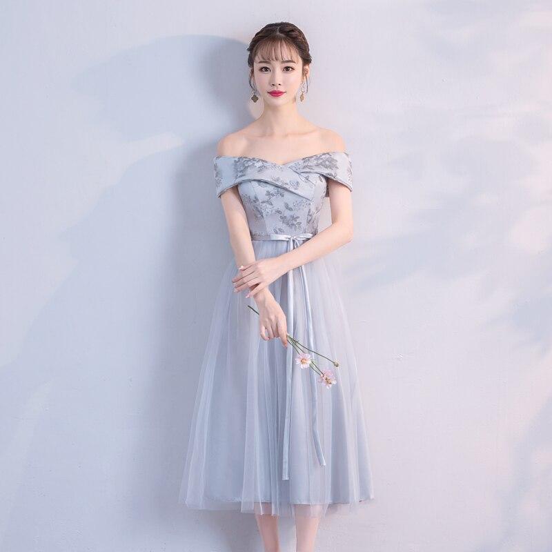 Embroidery Midi Dress  Bridesmaid Dresses  Wedding Guest Dress  Off Shoulder Grey Colour