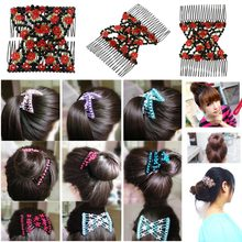 Vintage Flower Bead Stretchy Hair Combs Hair Accessories Double Magic Slide Metal Comb Clip Hairpins for Women Headband(China)